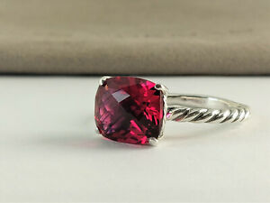 DAVID YURMAN STERLING SILVER Color Classics Ring, 12x9 mm Pink Tourmaline SIZE 9