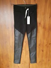 """ONLY JEANS Black Faux Leather Patch Skinny Stretch UK 6 / 34 / 32"""" Leg - NEW"""