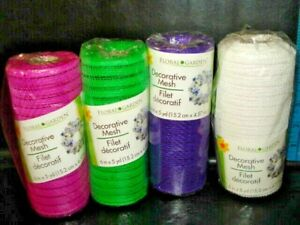 "LOT OF 4 Floral Garden Decorative  Mesh 6"" BY 5 yd Purple,PINK,WHITE,GREEN-NEW"