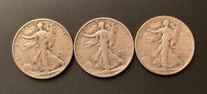 WALKING LIBERTY HALF DOLLARS LOT OF 3 COINS: 1945P 1945S 1946P CIRCULATED SILVER