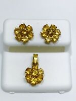 14k Solid Yellow Gold Genuine Yellow Topaz Flower Earrings And Pendant Set