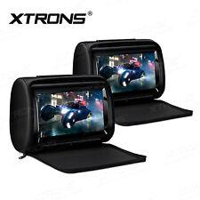 "2 X 9"" Adjustable Touch Screen Rear Monitor Pillow Car Headrest DVD Player HDMI"