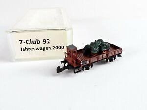 Märklin Spur Z mini-club Z-Club 92 Jahreswagen 2000 Niederbord m. Metall Traktor