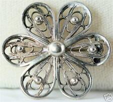 Filigree Flower Pin Vintage Antique Sterling Silver