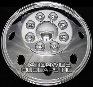 "1 - 16"" CHROME RV MOTORHOME Dual Wheel Simulators Rim Hub Cap Covers Van Truck"
