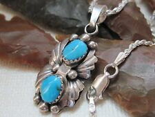 Vintage Navajo Andrew Martin Turquoise & Sterling Silver Pendant on 925 Necklace