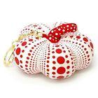 Yayoi Kusama Soft Sculpture Pumpkin Mascot Plush Key Ring White Japan NEW