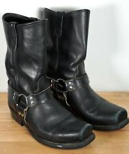 Vintage Men's DOUBLE H Black Leather Harness Motorcycle Boots Size 10 D
