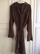 Ralph Lauren Silk, Brown Long Sleeve Dress, Size L