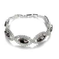 Women Elegant Bracelet Ladies Rhinestone Cuff Bracelet Bangle Hand Chain LE