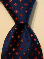 HUGO BOSS Men's Silk Necktie ITALY Luxury Designer Geometric Blue/Red/White EUC