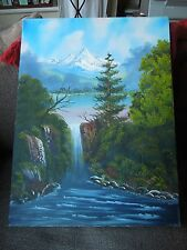 Stunning Mountain Stream Oil Painting on Canvas - Signed