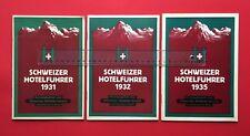 3 x Schweizer Hotelführer 1931/32/35 Schweizer Hotelier Verein Basel ( F18404