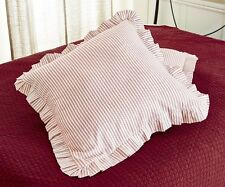 RED TICKING STRIPE EURO SHAM : BRIGHTON WHITE EUROPEAN PILLOW COVER STRIPED