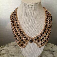 "Bib Statement Necklace Black Goldtone Chain Resin Beads 16-18""NEW/Gift Box"