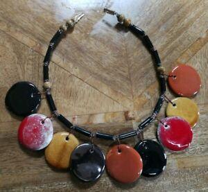 Kazuri ceramic choker style necklace, red, black, gold