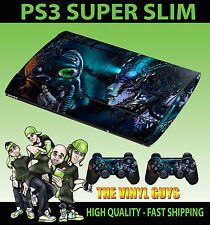 PLAYSTATION PS3 SUPER SLIM CYBER PUNK GAS MASK DARK SKIN STICKER & 2 PAD SKINS