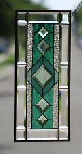 "Beveled Stained Glass Window Panel, Ready to Hang ≈ 22 3/8"" X  10 1/2"""