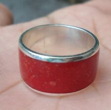 925 Sterling Silver-Size 7 Red Coral Ring Balinese Hand Made