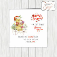 Personalised Winnie The Pooh Christmas Card 'Smallest Things' Gran Mum Daughter
