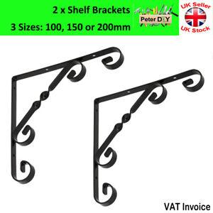 2 x Decorative Shelf Supports Metal Ornamental Brackets Black 3 Sizes 100-200mm