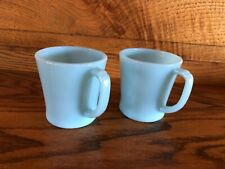 Two Blue Fire King Mugs D- Handle -  Bright and Shiny -