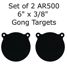 "Set of 2 AR500 Steel 6"" x 3/8"" Shooting Targets Gong Style"
