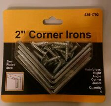 "4 Pack 2"" x 5/8"" Corner Irons, Zinc Plated Steel"
