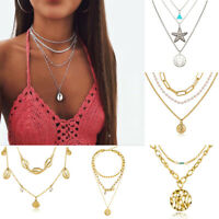 Boho Women Multi-layer Long Chain Pendant Crystal Choker Necklace Jewelry Girls