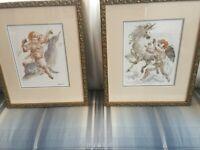 Pair Signed Charles Burdick Watercolors Cherubs