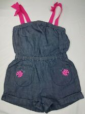 Gymboree Girls Cape Cod Cutie Romper Size 2T Chambray Ladybug Denim Outfit Pink