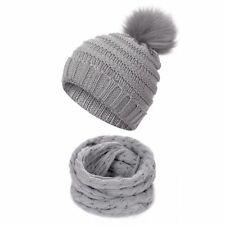 Children Kids Winter Hat Scarf Set Ball Hat Pom Pom Beanies Baby Girls Warm Cap
