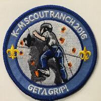 "K-M Scout Ranch 2016 ""Get a Grip!"" Montana Council BSA Scout Camp Patch"