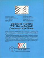 #8215 20c Netherlands Stamp - Scott #2003  USPS Souvenir Page