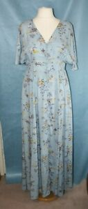 BNWT SIZE 16 BLUE FLORAL MAXI DRESS  WITH SIDE TIES BY BLUE VANILLA    1059