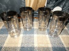 VINTAGE SET OF 4 SHIELD DRINKING GLASSES, SILVER TRIM. VERY GOOD COND.