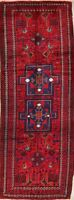 Vintage Tribal Geometric Balouch 9' Runner Rug Hand-Knotted Oriental Carpet 4x10