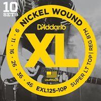 D'Addario Nickel Electric Guitar Strings Super Light Top/Regular Bottom, 10 Sets
