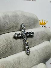 Platinum Sterling Silver White Sapphire Long Cross Round Stone Charm Pendant New