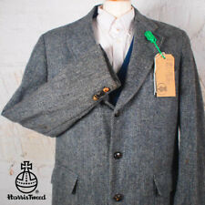 44R HARRIS TWEED Blazer Jacket Suit - Blue Grey Herringbone Hacking Wedding #318