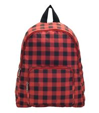 NWT COACH Packable Foldable Backpack Gingham Checker Print Nylon Red BLK F39648