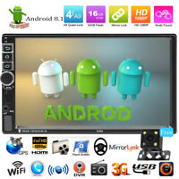 "7"" Touch Quad Core Android 8.1 GPS Navi FM Radio Car Stereo MP5 Player w/ Camera"
