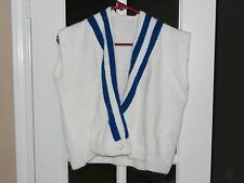 """WOMAN'S WHITE VEST """"NEW"""" HAND KNITTED 100% ACRYLIC - 21"""" WIDE X 18"""" LONG"""