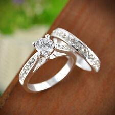 Women Engagement Wedding 2Pcs Set Cubic Zirconia Silver Plated Ring