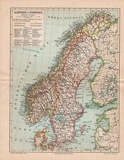 Antique map. SWEDEN & NORWAY. c 1895