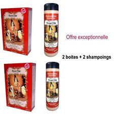 Henné Acajou Coloration Cheveux Naturelle 2 Boites Poudre 100gr +  2 Shampoings