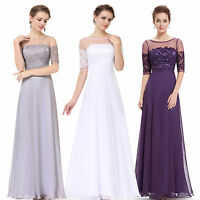 Chiffon Long prom dress Bridesmaid Dresses Size 8-20 Ball Gown Evening Party UK