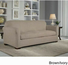 Tailor Fit Stretch Micro Suede 2-piece Slipcover For Box Cushion Sofa, Ivory