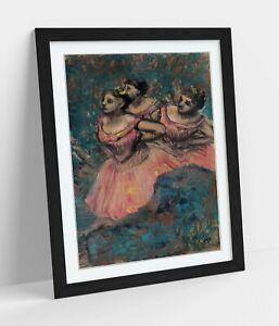 EDGAR DEGAS, THREE DANCERS -DEEP FRAMED WALL ART PICTURE PAPER PRINT- PINK BLUE