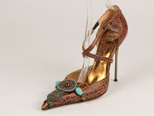 New   Hamlet Couture Brown Leather Stiletto Shoes Size 41  US 11